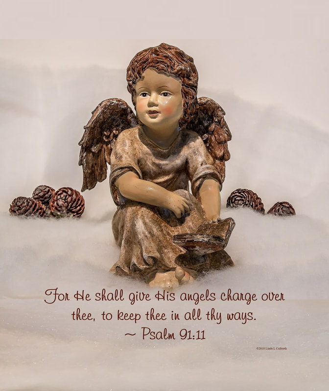 Vintage Angel with Psalms 91:11