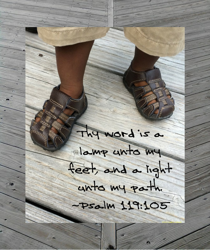 Beautiful Black Baby Feet with Psalm 119:105